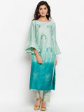 Cotton Silk Block Printed Dip-Dye Kurta Set