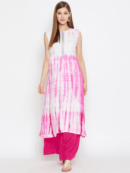 Cotton Viscose Tie & Dye Embellished Kurta Set