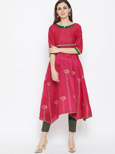 Cotton Silk Asymmetric Hand Block Printed Kurta Set