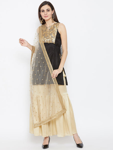 Faux Chanderi & Brocade Short Kurta Sharara & Dupatta Set