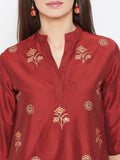 Cotton Silk Hand Block Printed Short Kurta Sharara Set