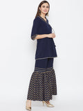 Crepe Hand Block Printed Tiered Sharara Set