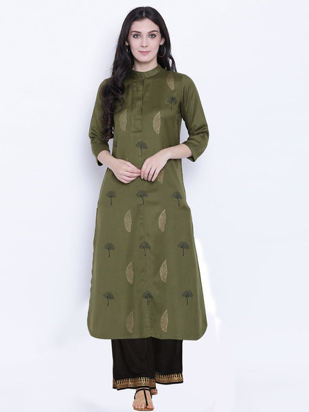 Cotton Viscose Hand Block Printed Placket Kurta Set