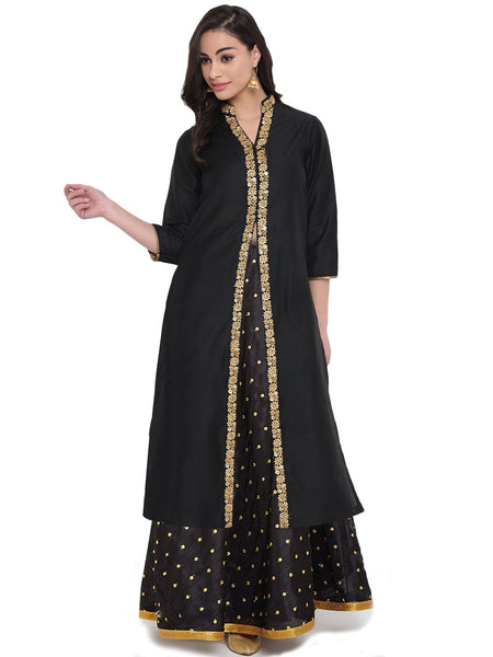 Cotton Silk Embellished Hand Block Printed Jacket Kurta Set