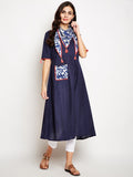 Cotton Slub A-line Neck Scarf Kurta Set