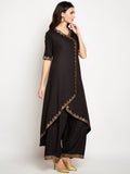 Cotton Viscose Block Printed Asymmetric Kurta Set