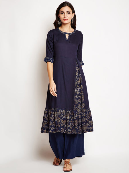 Cotton Viscose Block Printed Ruffle Hem Kurta Set