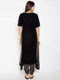Faux Velvet and Viscose Embellished Kurta Set