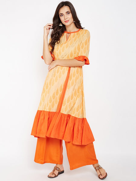 Cotton Cambric Printed Ruffle Kurta Set