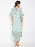 Cotton Silk Hand Block Printed High Slits Kurta Set