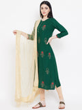 Viscose Block Printed Gota Placket Kurta Dupatta Set