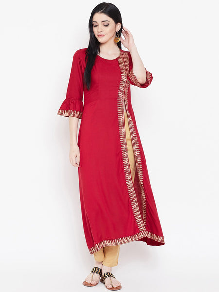 Viscose Block Printed Side Slit Kurta Set