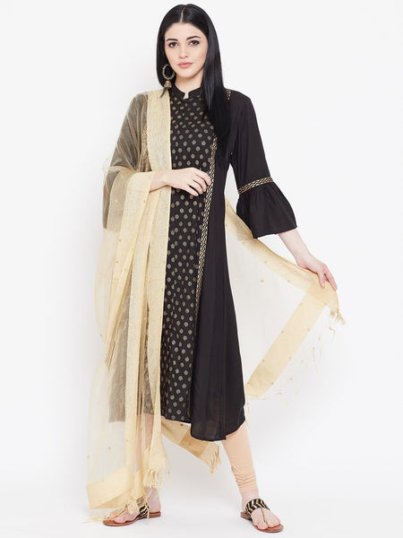 Viscose Block Printed Panelled Kurta Dupatta Set