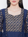 Silk Block Printed Gota Work Bell Sleeves Kurta Set