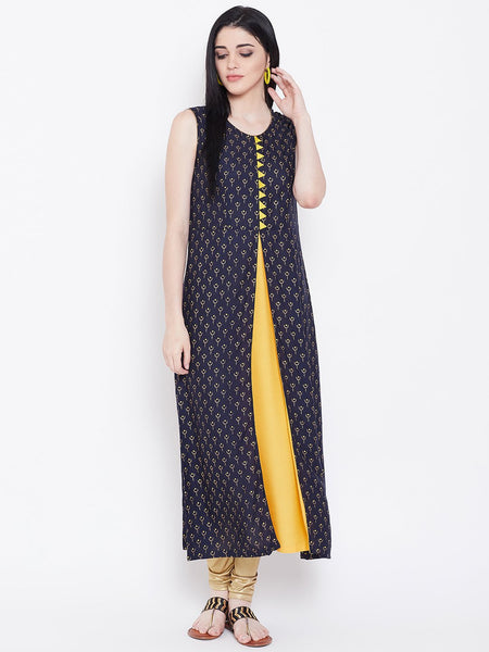 Viscose Block Printed Faux Layered Kurta Set