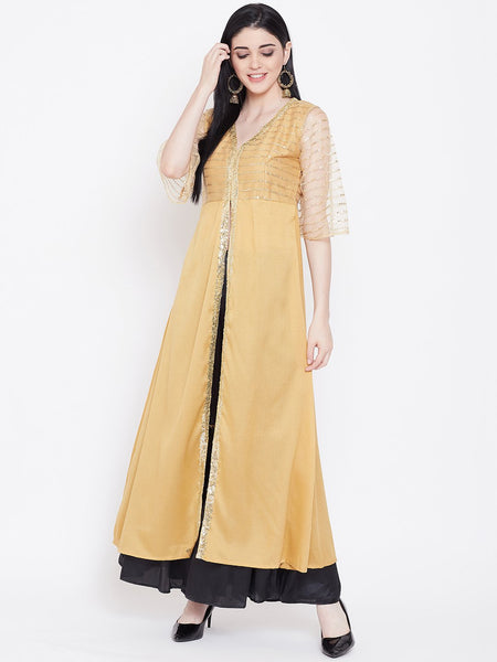 Silk & Net Sequins High slit Kurta Set