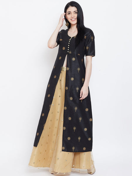 Dupion Hand Block Printed High Slit Jacket Kurta Set