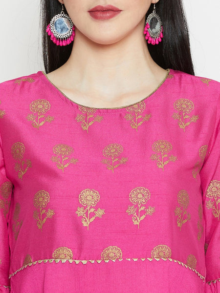 Silk Block Printed Gota Work Bell Sleeves Short Kurta Set
