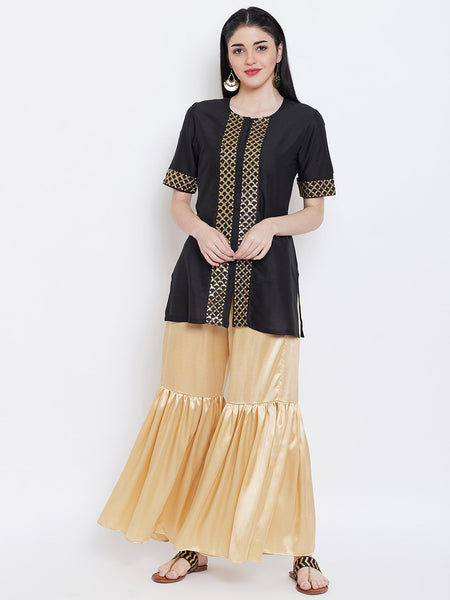 Cotton Silk Embellished Short Kurta Set