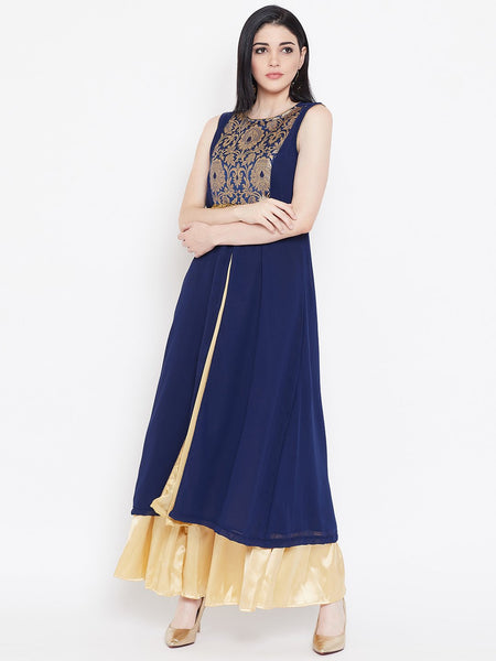 Georgette Brocade High Slit Maxi Kurta Set