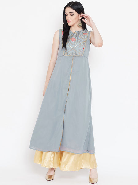 Georgette Embroidered High Slit Kurta Set