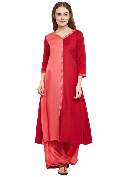 Cotton Viscose Block Printed Colour Blocked Kurta Set