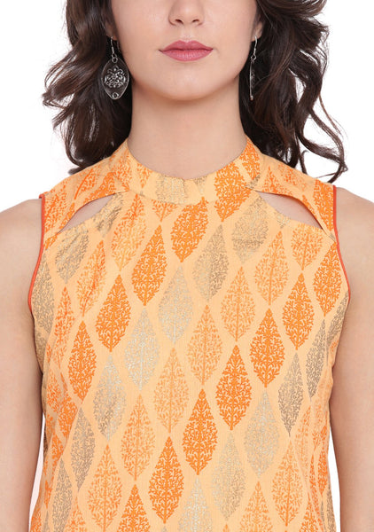 Cambric Hand Block Printed Cut-out Kurta Set