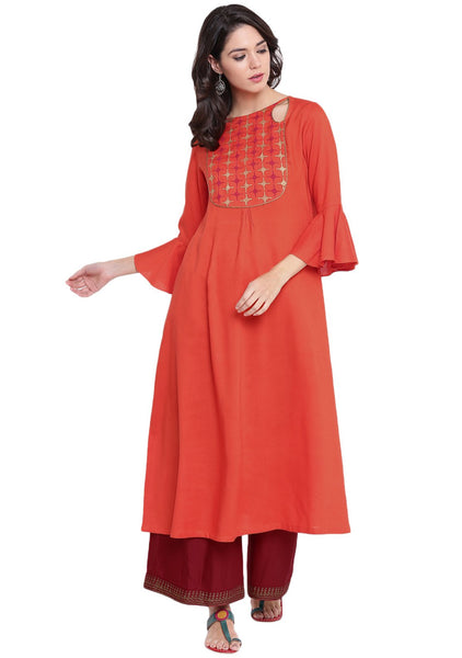 Cotton Viscose Hand Block Printed Cut-out Kurta Set