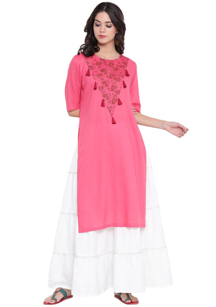 Cotton Viscose V-Yoke Hand Block Printed Kurta Set