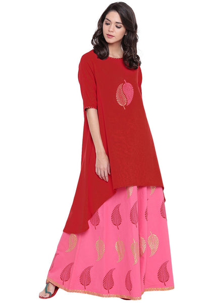 Flex Viscose Hand Block Printed High Low Kurta Set
