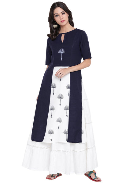 Flex Viscose Hand Block Printed Faux Layered Kurta Set