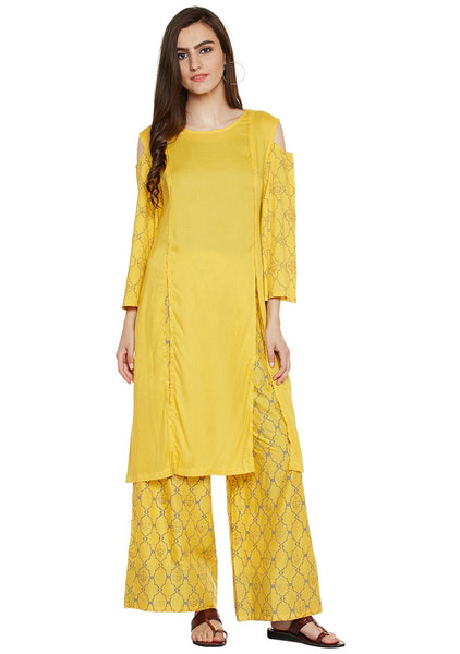 cotton viscose block printed cold shoulder kurta set