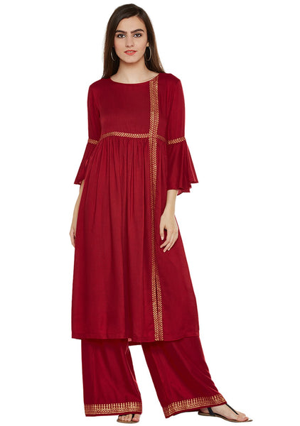 Cotton Viscose Block Printed Side Slit Kurta Set