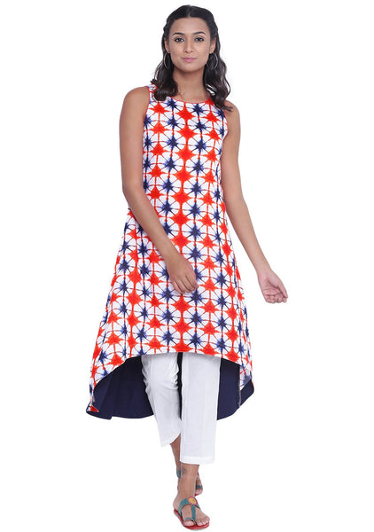 Cotton Viscose Printed High-low Kurta Set