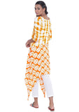 Cotton Viscose Printed Asymmetric Kurta Set