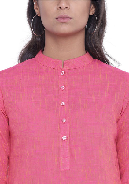 Cotton Mangalgiri Slub Hand Block Printed Pocket Kurta Set
