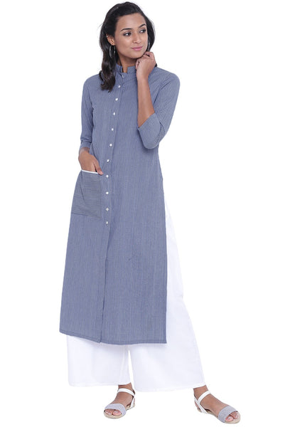 Cotton Stripe Pocket Button-down Kurta Set
