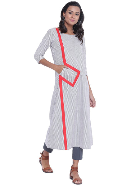 Cotton Stripe Pocket Maxi Kurta Set