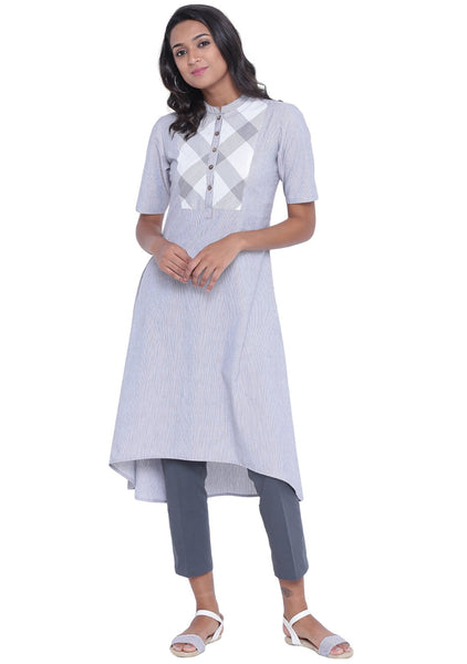 Cotton Stripe High Low Kurta Set