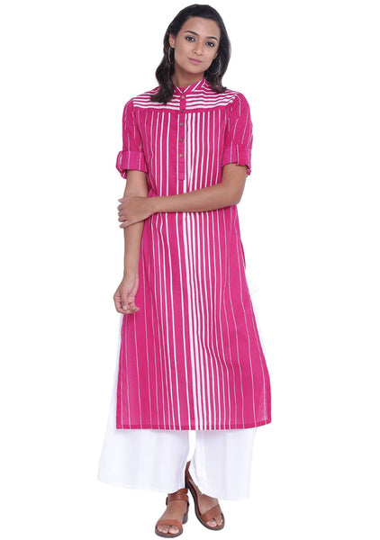 Cotton Cambric Printed Collared Kurta Set
