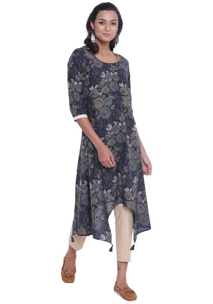 Cotton Cambric Printed Asymmetric Kurta Set