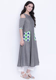Cotton Chambrey Cold Shoulder Printed Pocket Kurta Set
