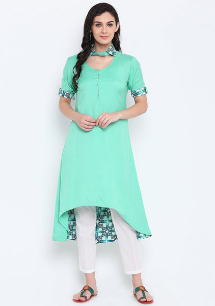 Cotton Viscose Printed Collar High Low Kurta Set
