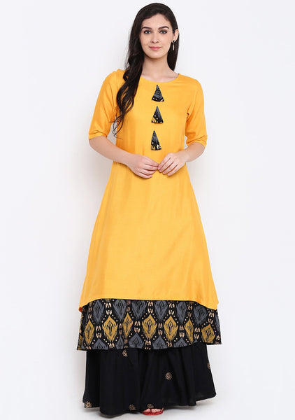 Cotton Viscose Hand Block Printed Layered Kurta Set