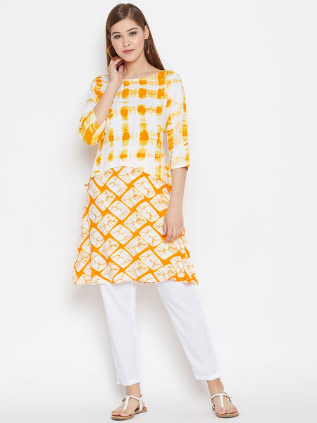 Cotton Viscose Printed Faux Layered Kurta Set