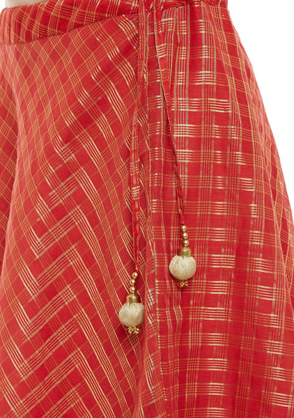 Faux Chanderi Checks Block Printed Lehenga Set
