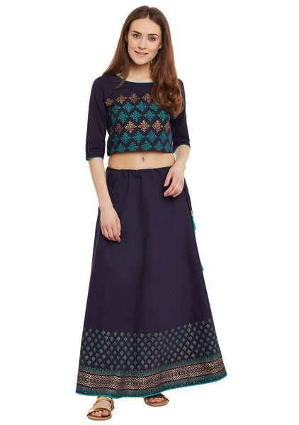 Cotton Poplin Block Printed Lehenga Set