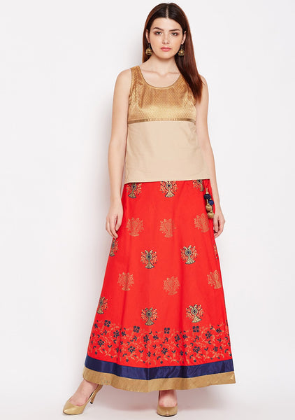 Cotton Block Printed Lehenga Set