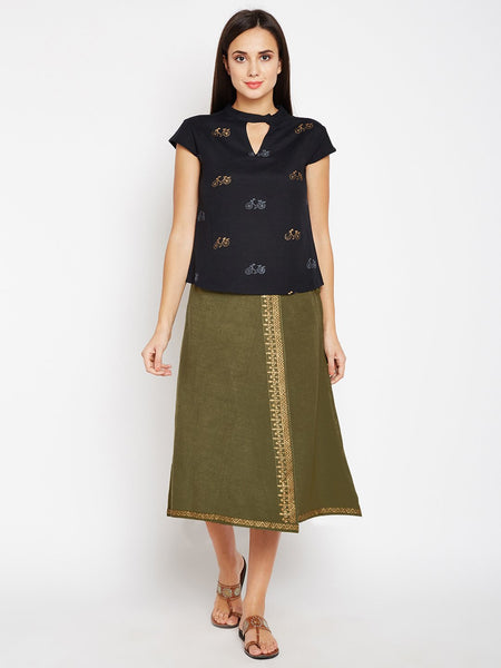 Flex Viscose Hand Block Printed Overlap Skirt Set