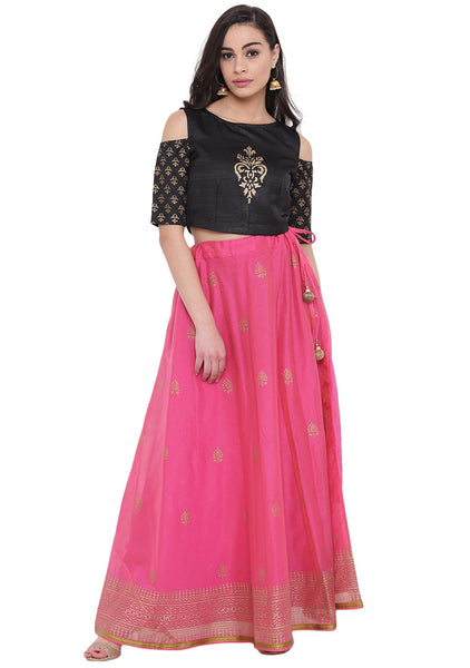 Faux Chanderi Hand Block Printed Lehenga Set